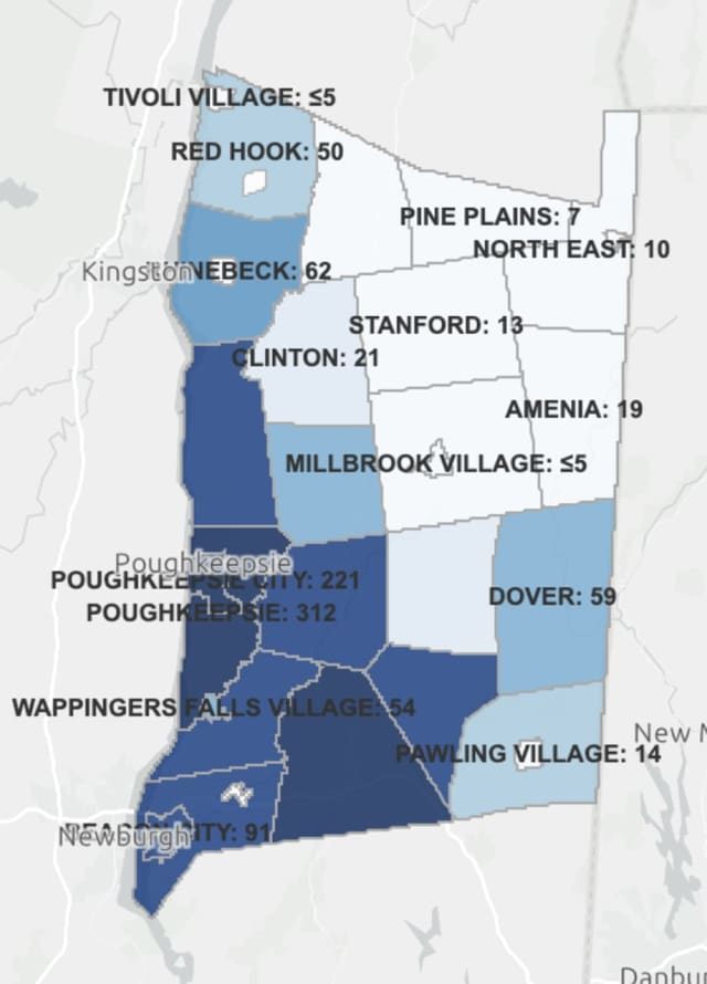 The breakdown of active COVID-19 cases in Dutchess County on Friday, Jan. 15.