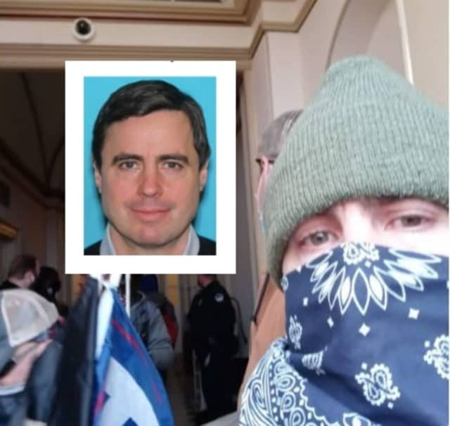 Andrew Wrigley posted a selfie inside of the Upper West Terrace of the Capitol building, authorities said.