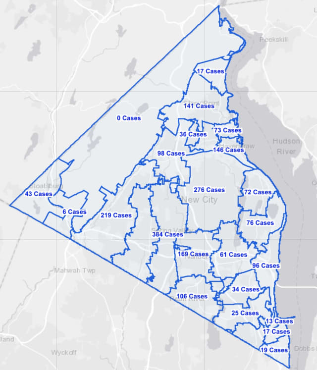 The Rockland County COVID-19 map on Monday, Jan. 25.