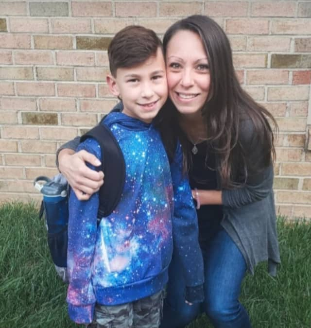Michele Mi and her son, Johnny, a third-grader at Mt. Olive
