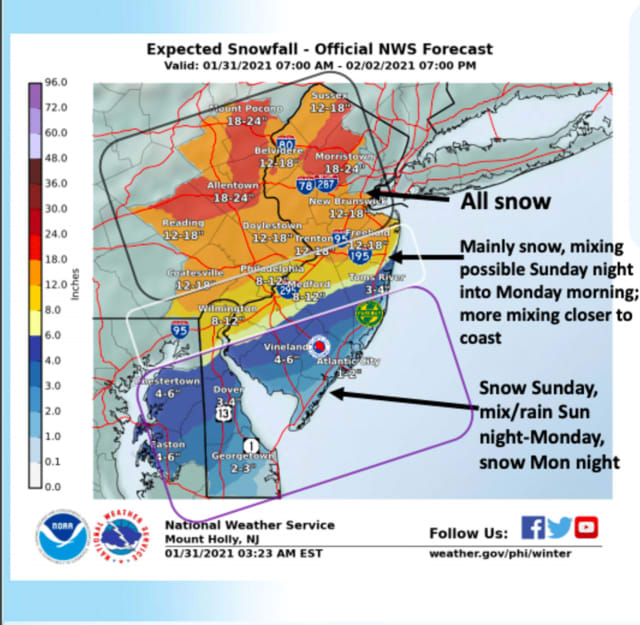 Snow totals and timing across NJ and PA (Jan. 31).
