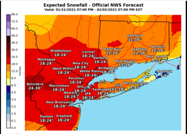 A look at areas (in red) where 18 to 24 inches of snowfall is now possible.