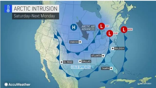An Arctic blast will return this weekend, lasting into early next week.