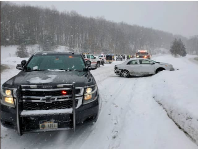A look at the crash scene on the Taconic State Parkway off Route 44 in Pleasant Valley.