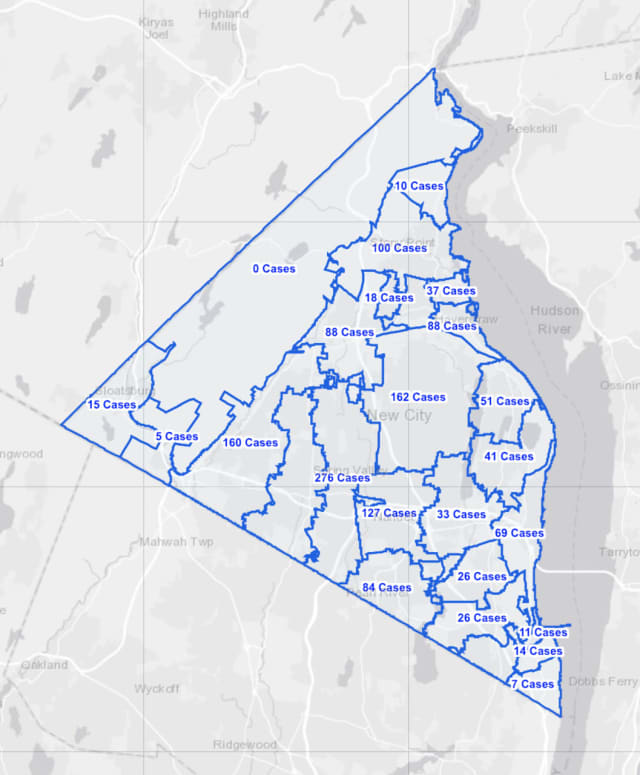 The Rockland County COVID-19 map on Friday, Feb. 12.