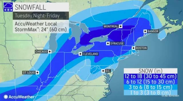 Snow totals for a potential storm expected to arrive Thursday morning.