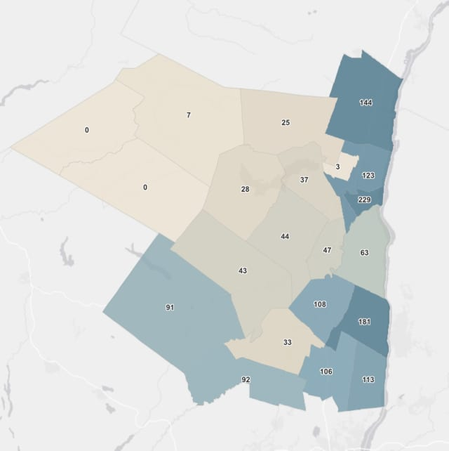 The breakdown of COVID-19 cases in Ulster County on Friday, Feb. 19.