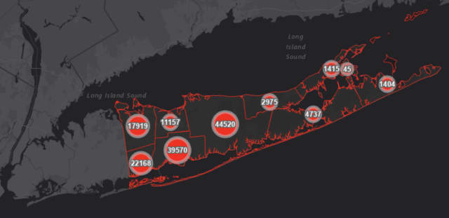 The Suffolk County COVID-19 map on Wednesday, Feb. 24.