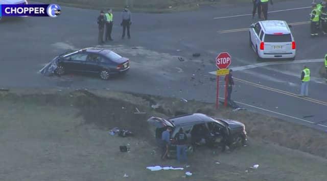 the scene of a serious crash in Burlington County. (Photo Courtesy: ABC-TV News Chopper 6)