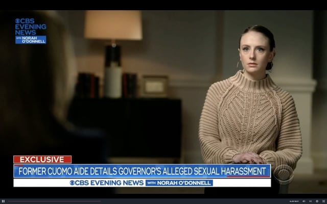 "Cuomo accuser Charlotte Bennet on the ""CBS Evening News."""