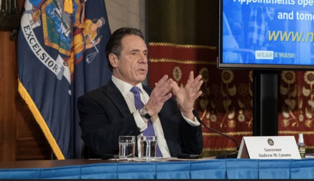 Gov. Andrew Cuomo at a news briefing on Wednesday, March 3.