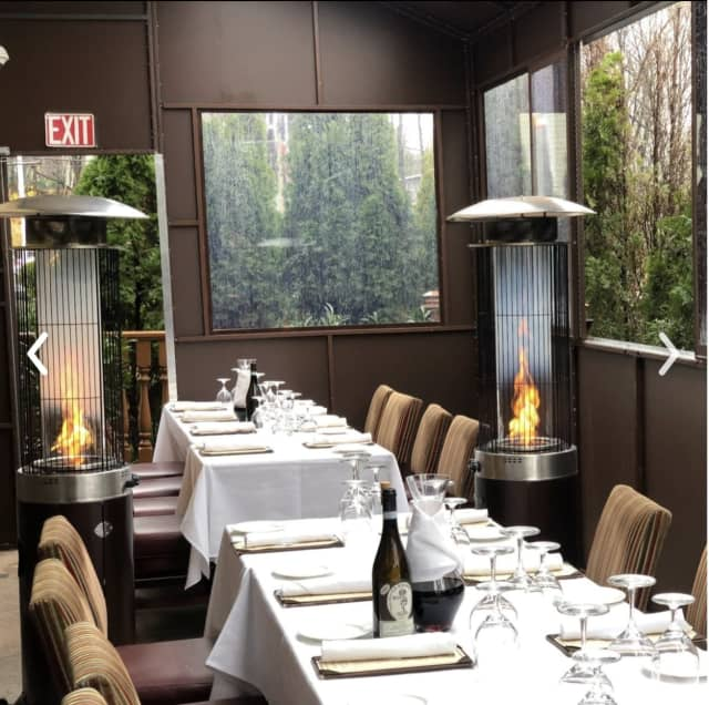 The heated outdoor dining area.