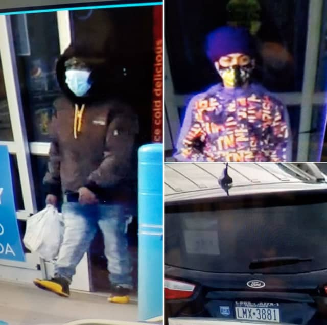 The men are pictured above with the vehicle they fled the scene in during an unspecified incident, Pohatcong Township police said.