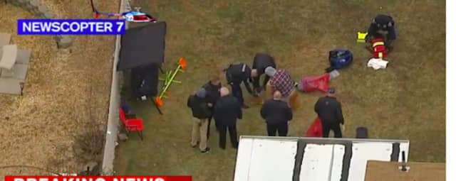 The scene of a dog attack in Carteret. (Courtesy: ABC Helicopter 7)