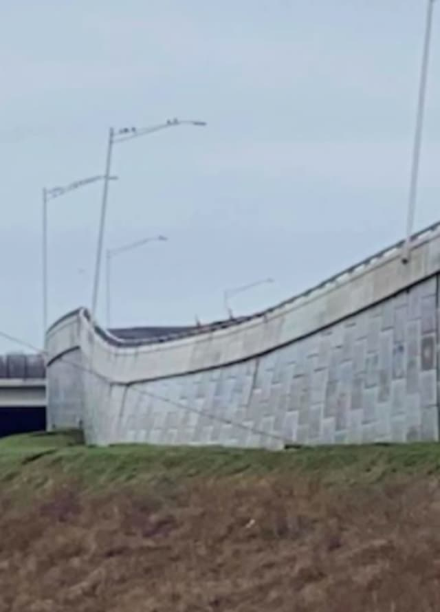 A retaining wall on the northbound side of I-295 in Bellmawr has partially collapsed slowing traffic on the Interstate as well as Route 42 in Camden County.