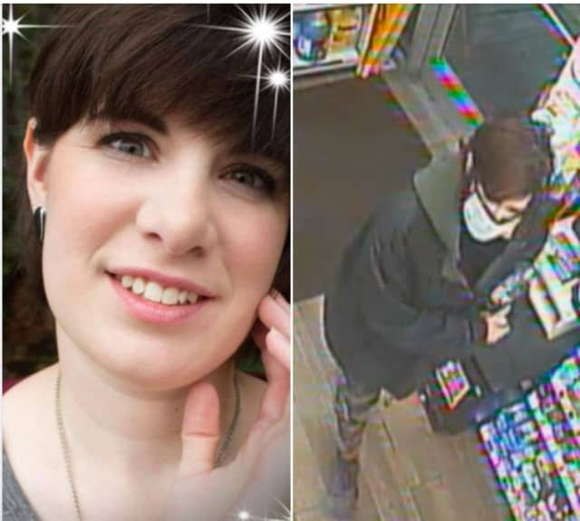 State police issued a security-cam photo showing missing woman Alicia Kenyon at a convenience store in Ulster County (right).