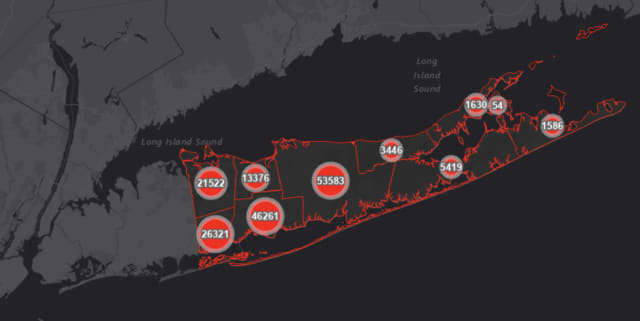The Suffolk County COVID-19 map on Thursday, April 8.