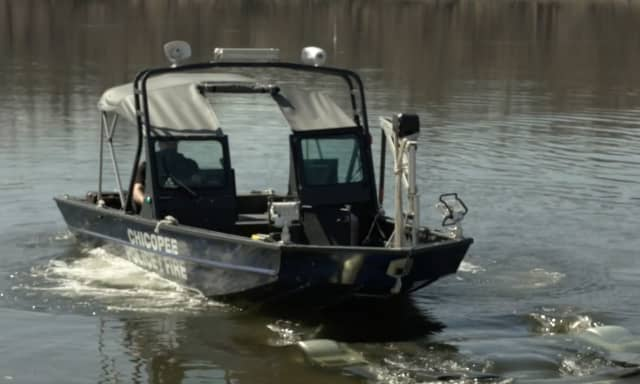 The Chicopee Police Department searching the river.