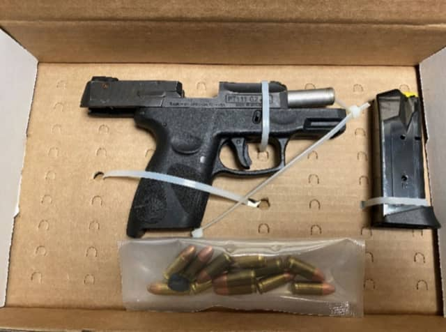 A Mamaroneck man was busted with a handgun during a traffic stop in New Rochelle.