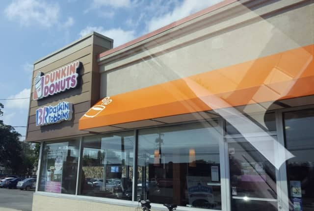 The Dunkin' Donuts hit by a vehicle in East Patchogue.
