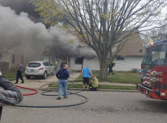 A 61-year-old woman died when a fire broke out in Levittown.