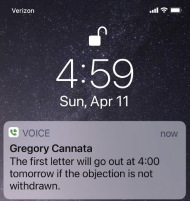 An alleged message from Greg Cannata