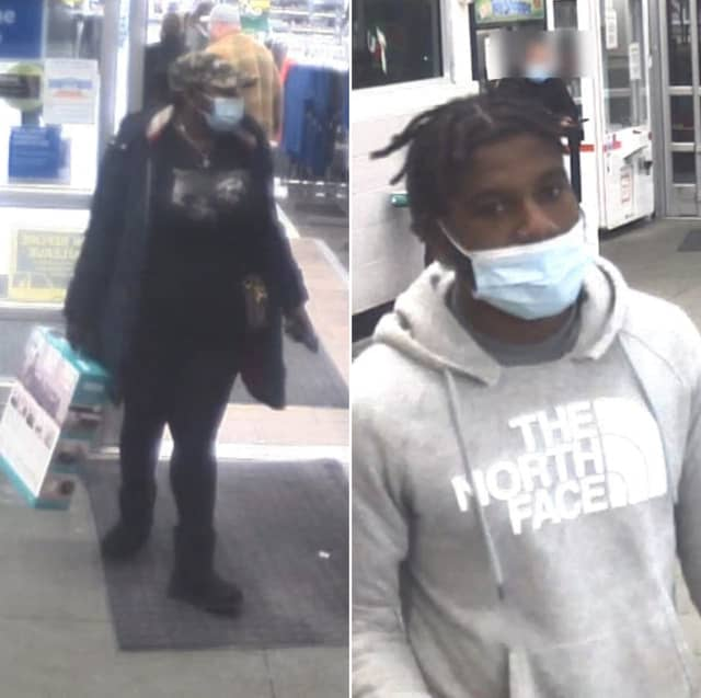 The pair pictured above is accused of stealing approximately $2,000 worth of TVs, sound bars, robot vacuums and other electronics from Walmart on Nazareth Pike around 7 p.m. on Feb. 23, Bethlehem Township police said.