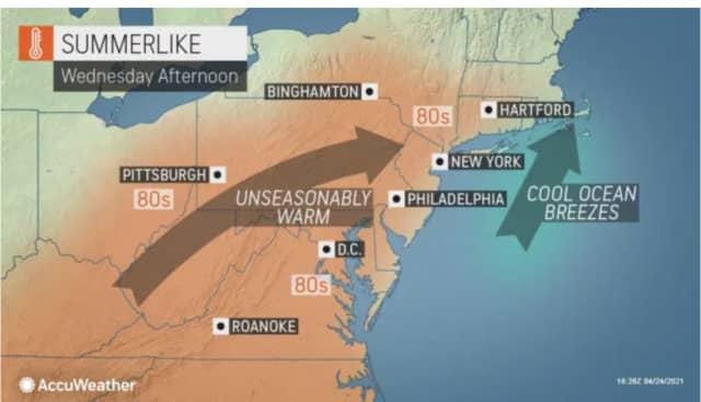 Unseasonably warm weather will arrive on Wednesday, April 28.