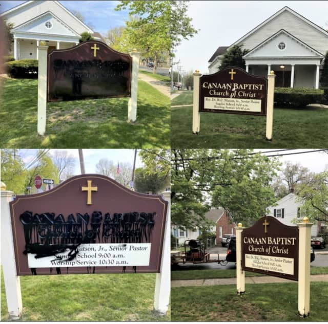 The graffiti painted on the signs at a Spring field church has been removed by the citys' own graffiti removal specialist.
