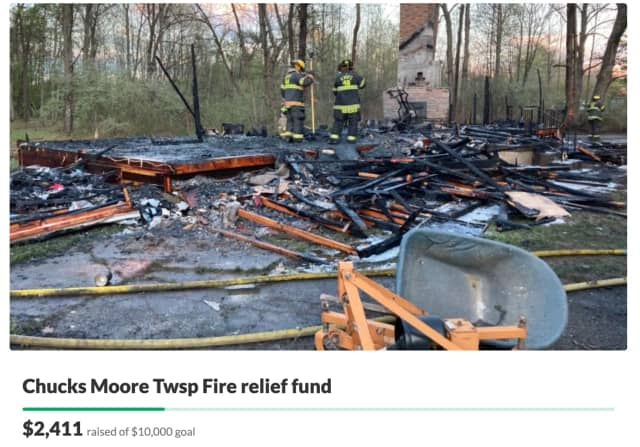 Chuck was left with nothing but the clothes on his back after his Moore Township home burned to the ground while he was out on his birthday, April 30, according to a GoFundMe launched by a friend.