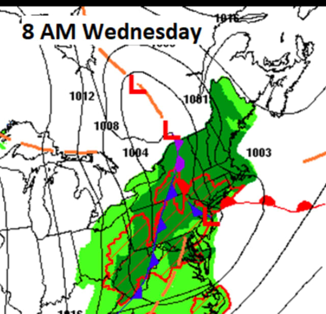 A look at areas where thunderstorms are most likely (outlined in red) on Wednesday, May 5.