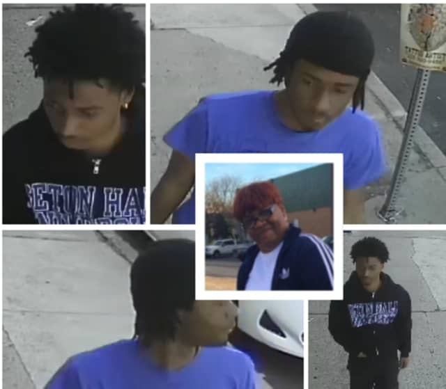 Authorities would like to speak to the two young men in the photographs above in connection with Debra Derrick's shooting death.