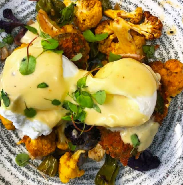 Fried avocado Benedict from Terrain Cafe.
