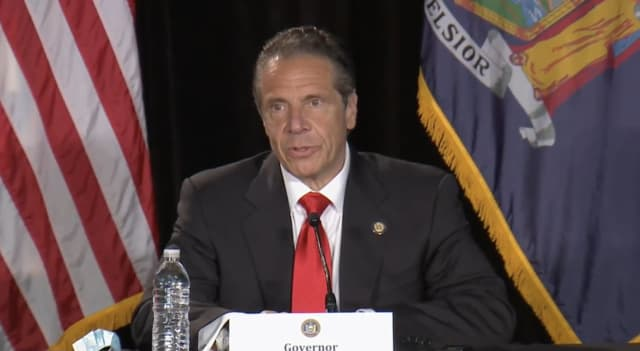 New York Gov. Andrew Cuomo at a COVID-19 briefing in the Bronx on Thursday, May 13, where he denied any wrongdoing.