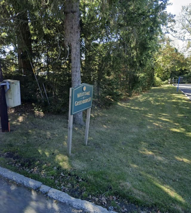 """The """"All Lives Can't Matter Until Black Lives Matter"""" sign was removed from the """"Welcome to Greenburgh"""" sign."""