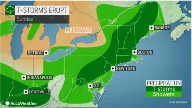 A look at areas where thunderstorms are possible (in dark green) on Sunday, May 16.