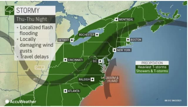 A look at areas (in dark green) expected to see the strongest thunderstorms on Thursday, June 3.