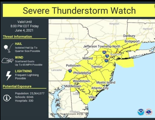 A look at areas (in yellow) where a Severe Thunderstorm Watch is in effect until 8 p.m. Friday, June 4.