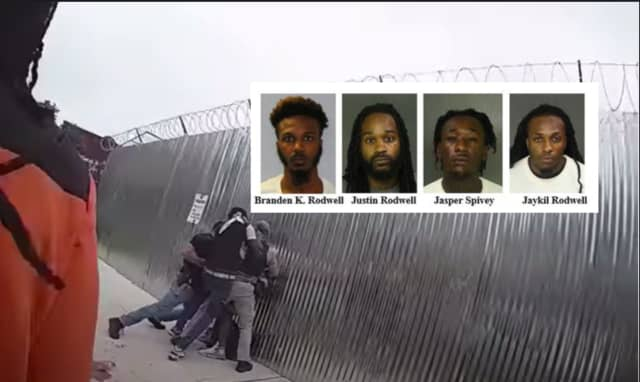 Disturbing footage shows a group of men attacking Newark police officers that led to the arrests of four men.