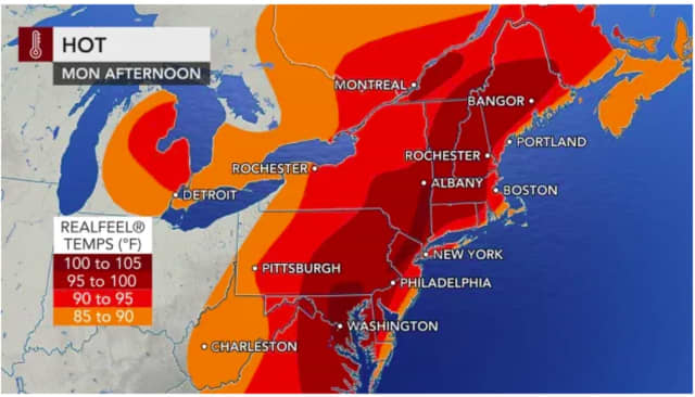 The hottest heat indices on Monday, June 7 will be areas farther inland.