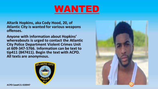 Altarik Hopkins, (aka Cody Hood) is wanted on several weapons offenses in a stolen car incident.