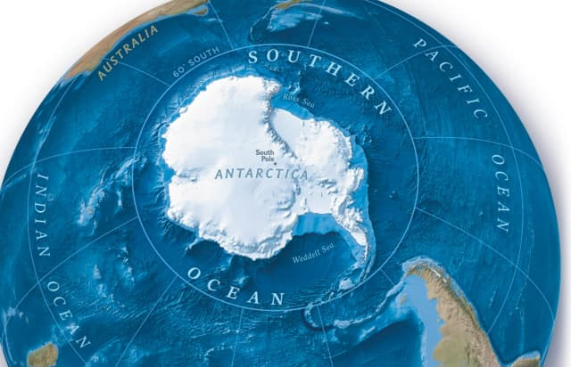 """The National Geographic Society now officially recognizes a fifth world ocean, which geologists and meteorologists previously called the """"Southern Ocean."""" (Courtesy/ National Geographic"""