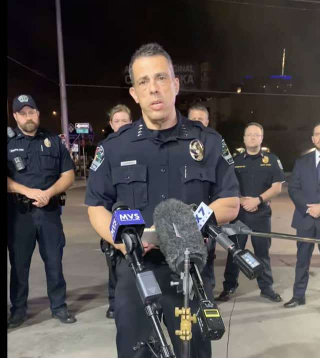 Interim Austin Police Chief Joseph Chacon talks about the shooting during a press conference.