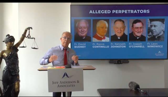 Attorney Jeff Anderson announces names of nine new NJ priests accused of sex abuse.