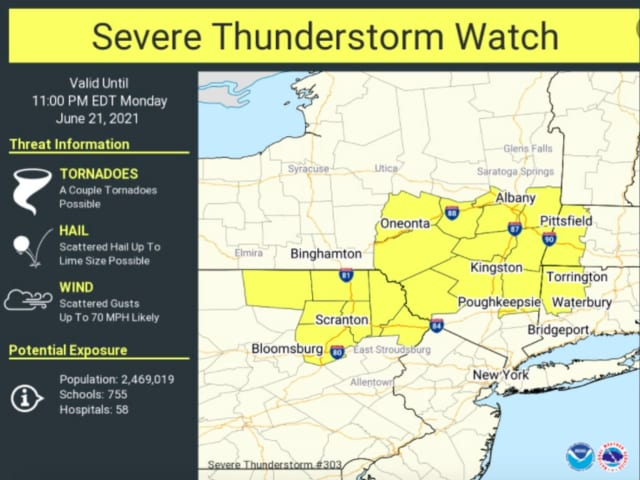 A look at areas in New York, Connecticut, and Massachusetts where a Severe Thunderstorm Watch is in effect until 11 p.m. Monday, June 21.