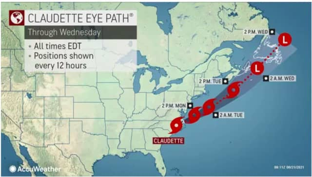 The latest projected track for Claudette.