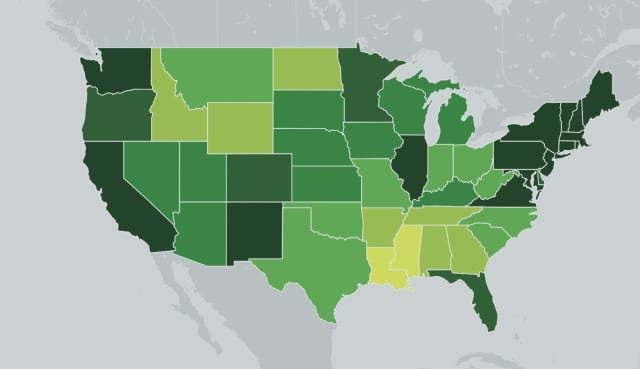 The breakdown of states administering the most COVID-19 vaccines. Darker shades represent more vaccinations.