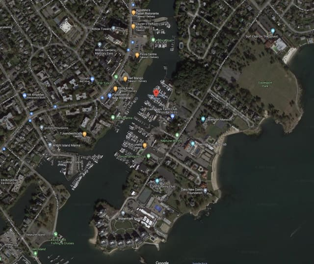 Police in New Rochelle responded to reports of a boat taking on water on the Long Island Sound near the Larchmont border.