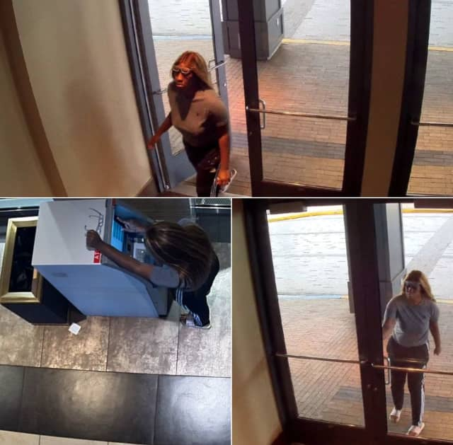 The suspect pictured above is wanted for access device fraud, police said.