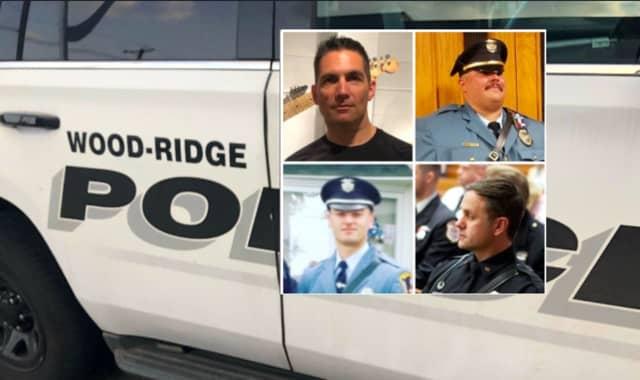 Wood-Ridge Officer Mike Mueller (bottom right), Sgt. Jeff Geisler (top right), Officer Michael Donato (bottom left) and Sgt. Joseph Rutigliano.